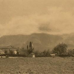 FMG013: A view of Mount Dajti in the clouds, near Tirana, Albania (photo: Friedrich Markgraf, 1924-1928).