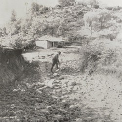 FMG015: West of the village of Tufina near Tirana, on the rocky road to Dibra, Albania (photo: Friedrich Markgraf, 1924-1928).