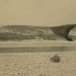 FMG019: Fording the Erzen River at the foot of the one-time Beshir Bridge, near Tirana, Albania (photo: Friedrich Markgraf, 1924-1928).