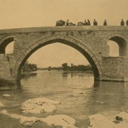 FMG020: The Hasan Bey Bridge at Banja (Ura Vajgurore), between Lushnja and Berat, Albania (photo: Friedrich Markgraf, 1924-1928).
