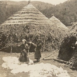 FMG024: Aromanian (Vlach) girls spinning wool at a nomadic settlement on Mount Guri i Topit in the Gramsh region of Albania (photo: Friedrich Markgraf, 1924-1928).