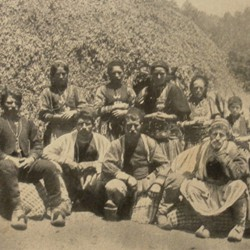 FMG025: Aromanian (Vlach) villagers at a nomadic settlement on Mount Guri i Topit in the Gramsh region of Albania (photo: Friedrich Markgraf, 1924-1928).