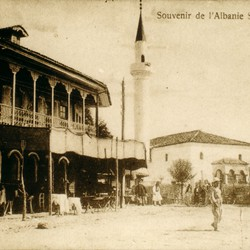041 Albania. View of the town of Shkodra, taken from a postcard
