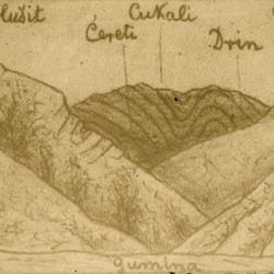 233 Albania. The rugged mountains of Cukali. Sketch made from a photo, as seen from the Gomina Valley in the District of Puka, 1907