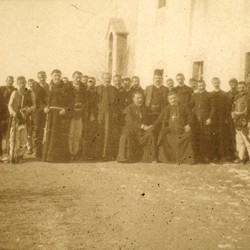 274 Albania. Prenk Bibë Doda seated with the Mirditan Bishop of Sappa (right), and fathers and leading priests