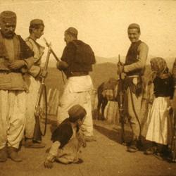 276 Albania. The men of Blinisht in the District of Lezha