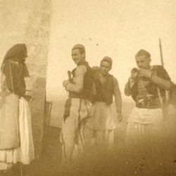 281 Albania. The family of the Bajraktar of Kthella out hunting at the home of Nopcsa