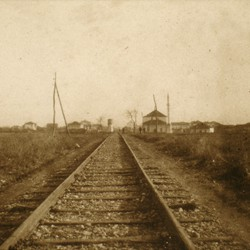 291 Kosova. The railway line at Ferizaj on the Plain of Kosova, 1903