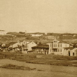295 Macedonia. Skopje. The Vardar river in the foreground, the fortress in the background, 1903