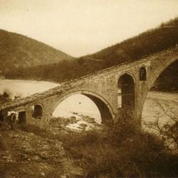 323 Albania. The Vizier's Bridge (Ura e Vezirit) on the Drin near Kukës, part of the old traderoute between Shkodra and Prizren